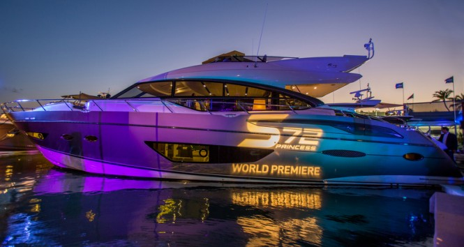 Princess S72 Yacht officially unveiled at the 2014 Miami Yacht and Brokerage Show - Image courtesy of Princess Yachts International plc