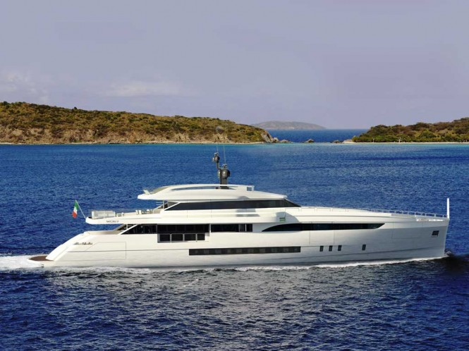 Rendering of superyacht Wider 150 under construction at Wider Yachts