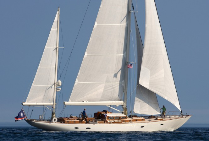 Stephens, Waring and White Designed superyacht Bequia, 90 ft ketch built by Brooklin Boatyard, Maine