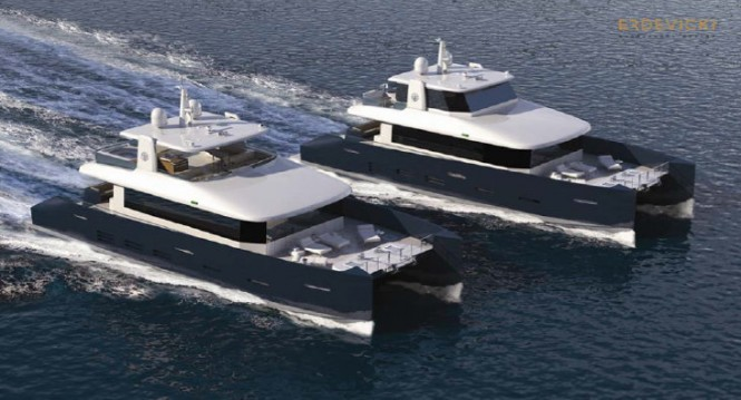 Superyacht KingCAT 80 concept - both versions together