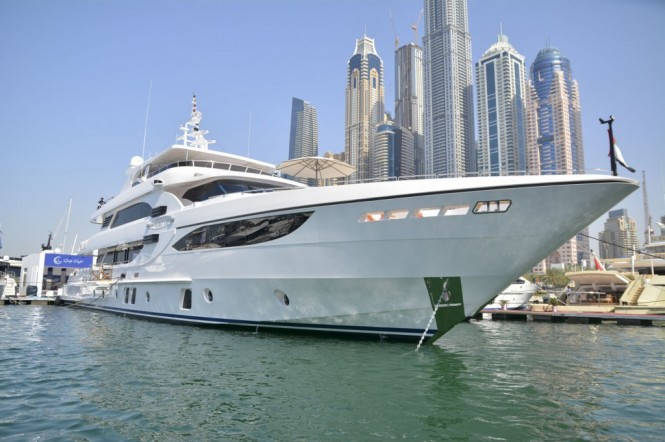 Superyacht Majesty 135 at the Dubai International Boat Show