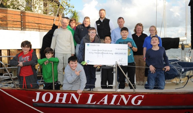 Dean Smith of MDL Marines present cheque to Mark Todd, Chief Executive of the Ocean Youth Trust