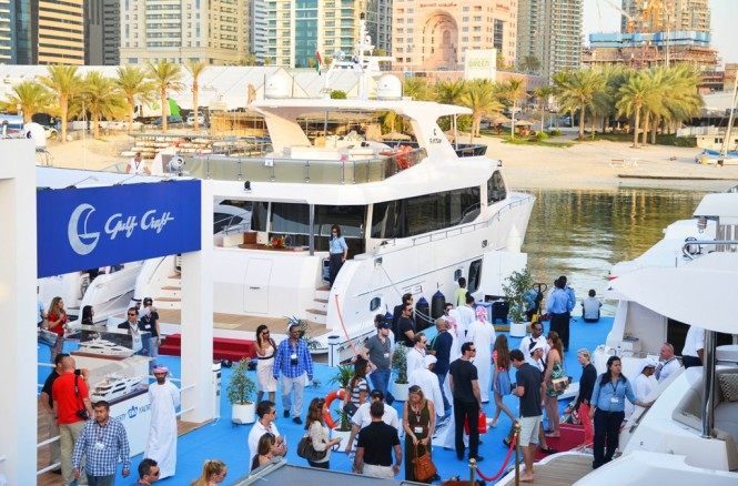Visitors waiting in cue to view the latest Majesty Yachts models at the Dubai International Boat Show