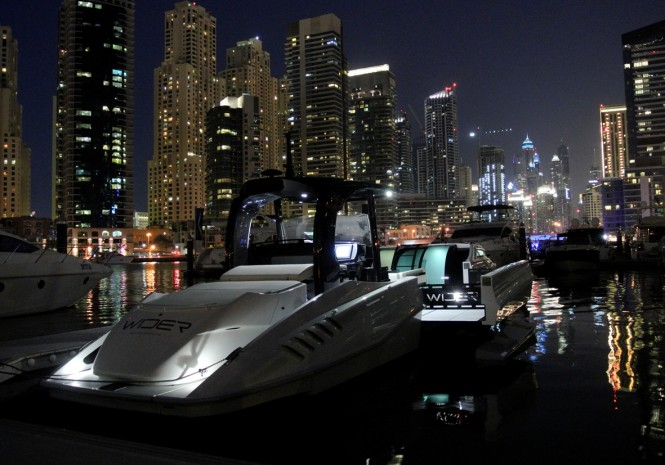 Wider 42' Yacht on display at the 2014 Dubai Boat Show