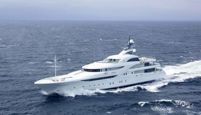 82m Blohm and Voss superyacht GRACEFUL under sea trials - Repair Lille Belt Denmark