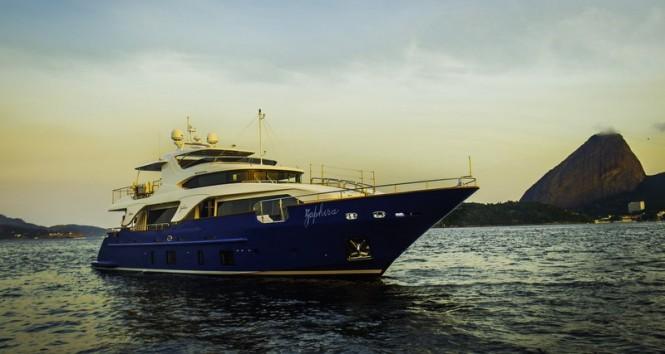 Benetti Delfino 93 superyacht ZAPHIRA (BD005) in Rio de Janeiro, Brazil - Image credit to Alberto de Abreu Sodre