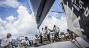 Hap Fauth helms his 'Bella Mente' upwind in light air during the second day of racing at Les Voiles de St. Barth - Image credit to Les Voiles de St Barth AMORY ROSS