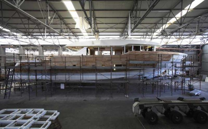 Hull and superstructure of Oceanic 90' Yacht Hull no. 1 being prepared to receive the upper deck