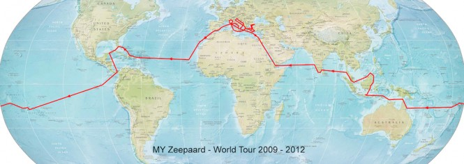 JFA Yacht Zeepaard - ex Axantha I - world tour map