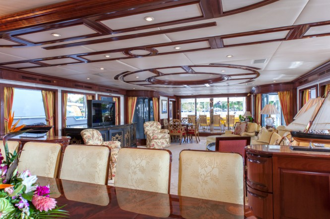 Luxury yacht Chevy Toy features sleek marble and mahogany finishes throughout and three decks