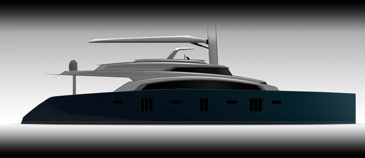 Luxury yacht Sunreef 92 Double Deck project - side view