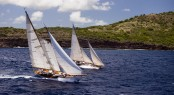 Juno and Mary Rose sailing in the Antigua Classic Yacht Regatta, Windward Race.