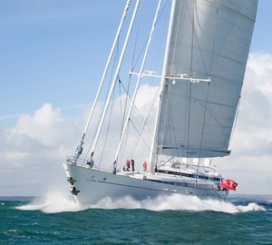 Sailing yacht M5 (ex Mirabella V) leaves Pendennis after comprehensive refit