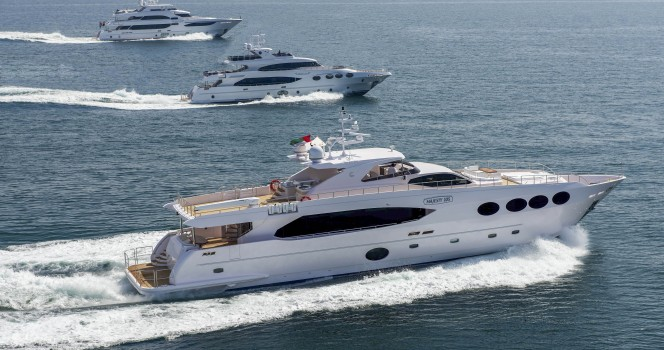 Majesty Yachts cruising along the UAE Coastline - from bottom to top superyachts Majesty 105, Majesty 125 and Majesty 135