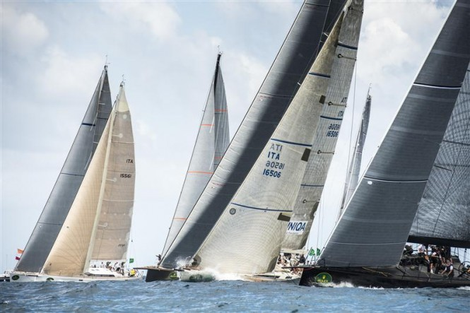 Maxi yachts at the start of the first Coastal Race 2013 - Photo by Rolex Kurt Arrigo