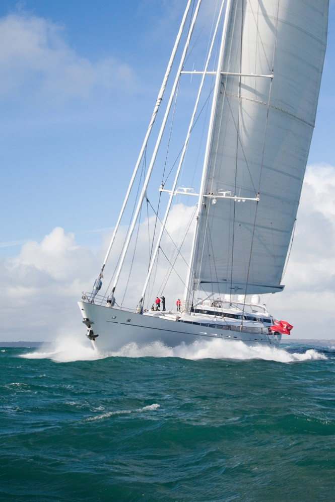 Mega yacht M5 Sail trials - Photo credit to Pendennis and Andrew Wright photography