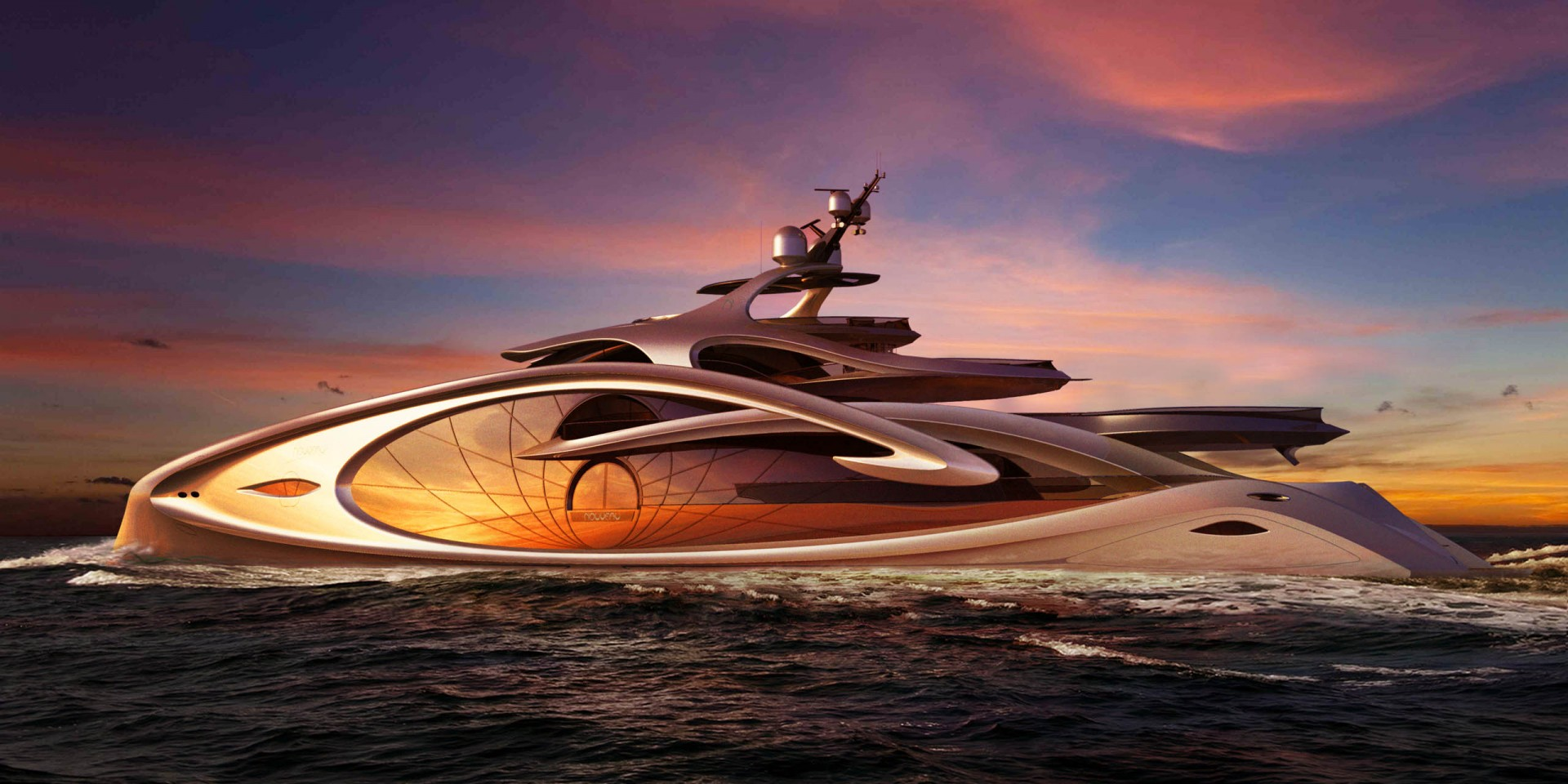 Nouveau Super Yacht Concept After Sunset