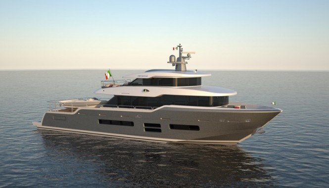Rendering of Oceanic 90' motor yacht hull #1