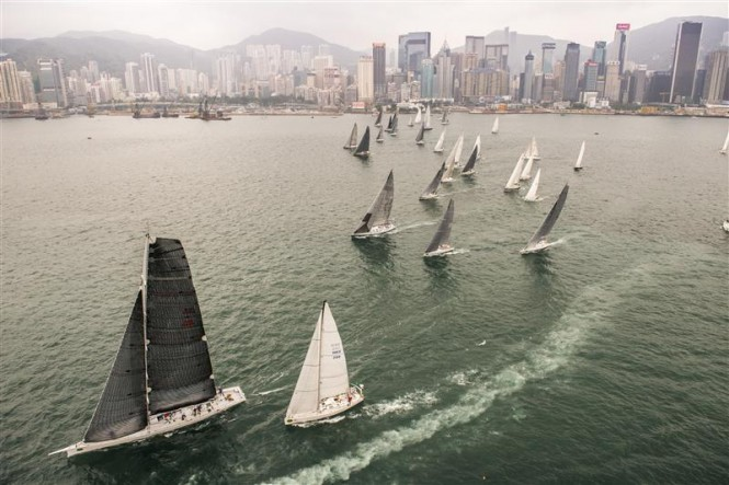 Rolex China Sea Race 2014 Race Start - Maxi yacht Ragamuffin leading - Photo by Rolex Kurt Arrigo