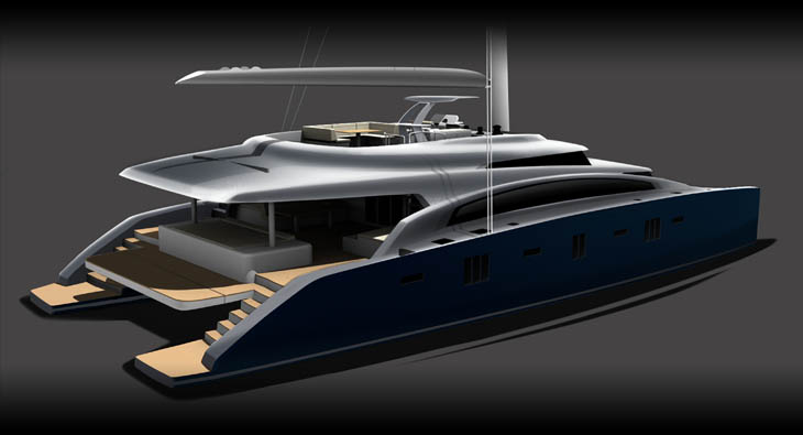 Sailing yacht Sunreef 92 Double Deck project - aft view
