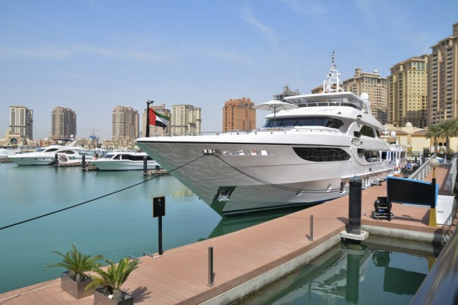 Superyacht Majesty 135 at the Gulf Craft Exclusive Preview in Qatar