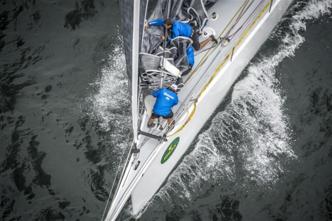 Teamwork on superyacht Ragamuffin 90 following the race start - Image by Rolex Kurt Arrigo