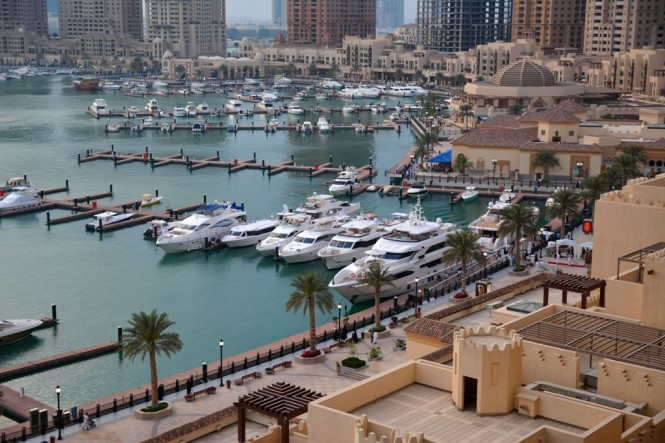 The fleet of luxury yachts on display at the Gulf Craft Exclusive Preview