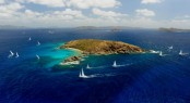 Yachts racing in the BVI Spring Regatta round Flannagan Island (Photo: Todd VanSickle)