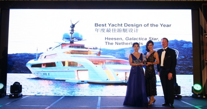 Ms. ZZ Phang, Pen Marine – Heesen Yachts Agent South East Asia, Ms. Wei Shan, Managing Director – Asia Pacific of Parmigiani, Mr. Glen Watson, Editor-in-Chief of Asia-Pacific Boating Photo courtesy of Asia-Pacific Boating