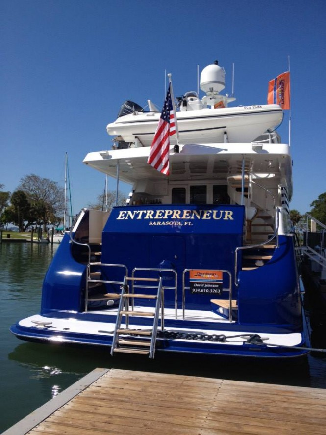 110ft Broward superyacht Entrepreneur on display at Suncoast Boat Show in Sarasota