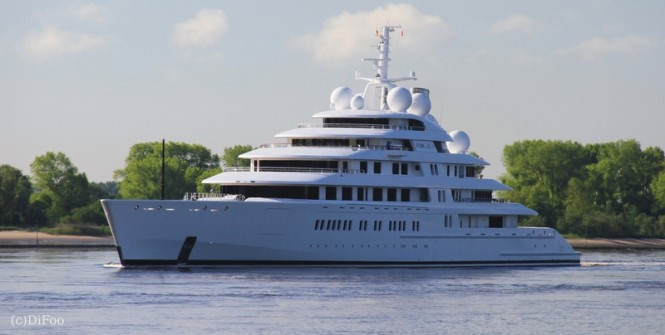 180m Lurssen mega yacht AZZAM - Image credit to DiFoo