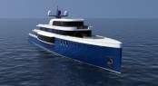 73m mega yacht Project Sapphire by Tim Gilding Marine Design - Image credit to Tim Gilding Marine Design