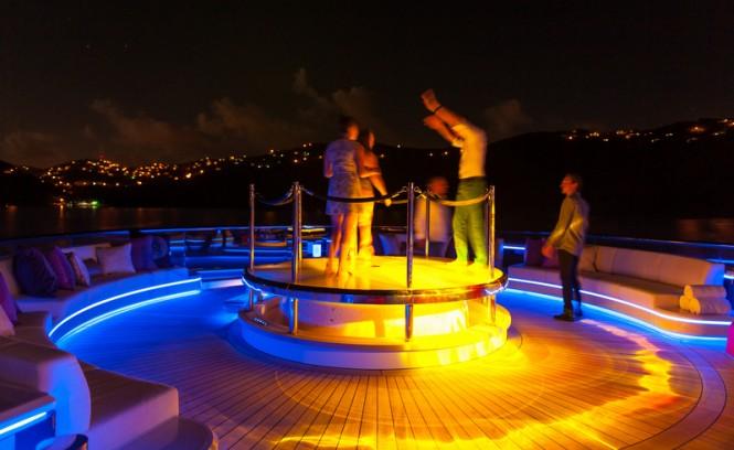 FEEBE Pool Top installed on the 85m Lurssen mega yacht SOLANDGE - Image credit to Klaus Jordan