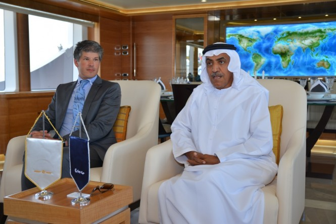 Gulf Craft Press Conference onboard the Majesty 135 with the presence of Mr  Mohammed Hussein AlShaali(right) and Mr  Erwin Bamps (left)
