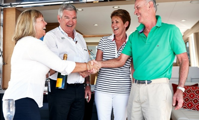 (L-R) Brenda and Brett Flanagan from Integrity Motor Yachts and Kim and Russel Dahl