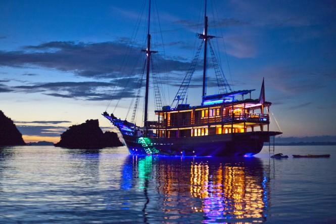 Luxury Yacht DUNIA BARU at dusk