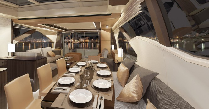 Luxury yacht Azimut 77S - Dining