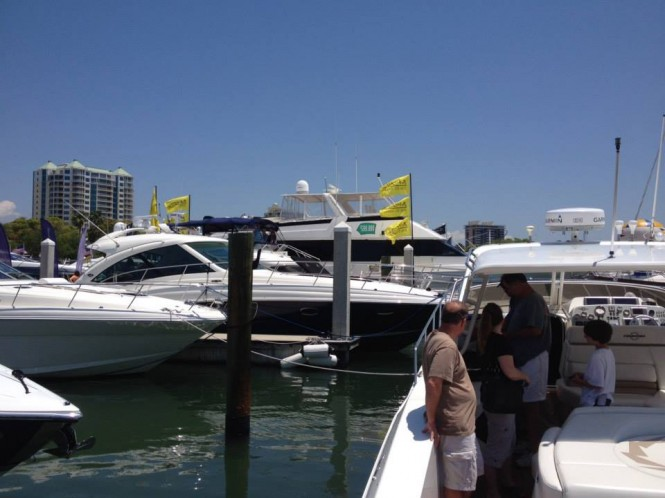 Luxury yachts on display at Suncoast Boat Show in Sarasota