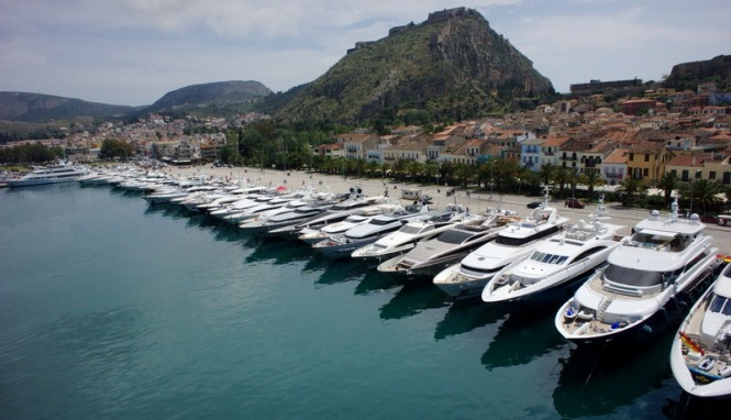 Luxury yachts on display at the 2014 Meditteranean Yacht Show