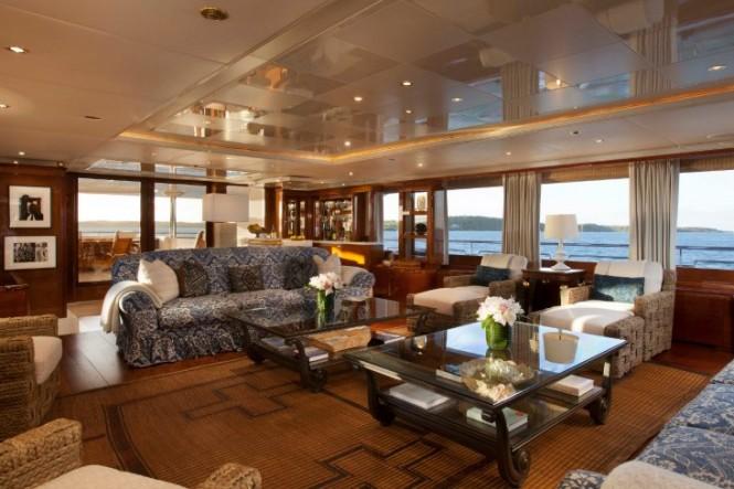 Main deck saloon aboard luxurious STARFIRE yacht by Benetti