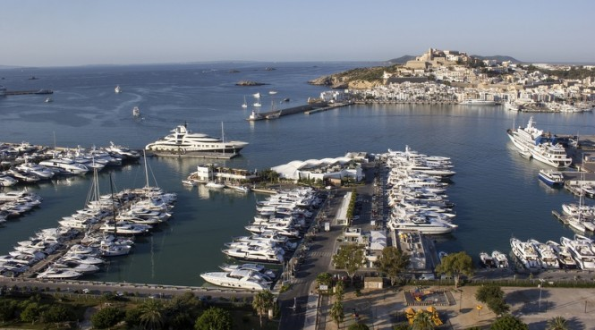 Marina Ibiza positioned in the glamorous Spain yacht holiday destination - Ibiza