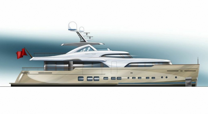 Rendering of the 34m Mulder Superyacht BN 100