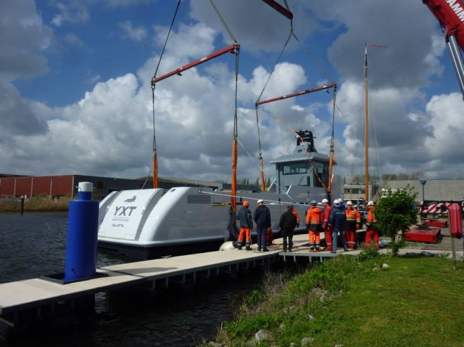Support yacht YXT One on the water