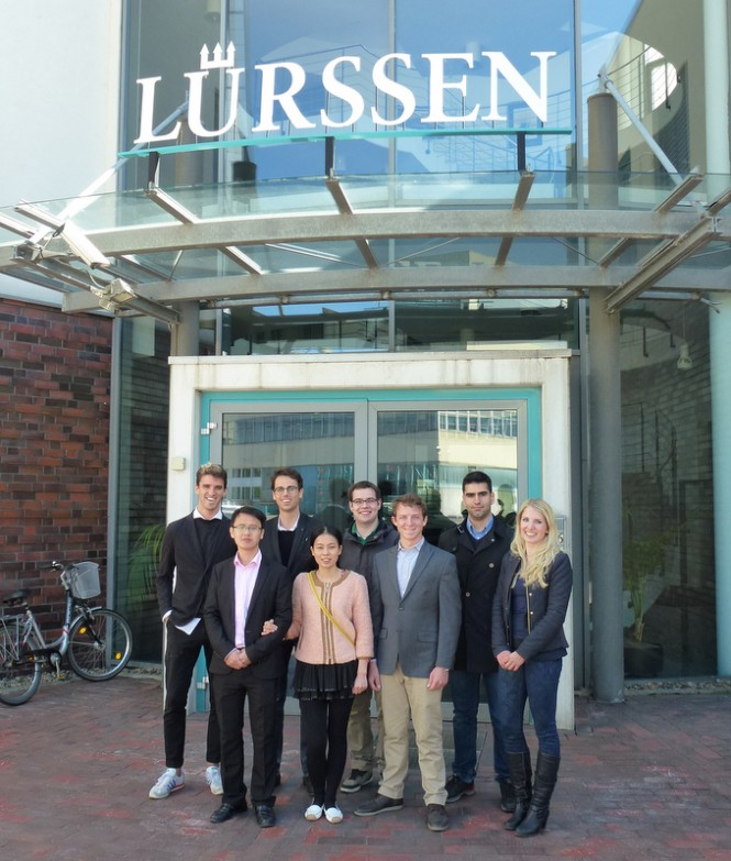 The Young Designer Award 2014 Finalists in front of the Lurssen Shipyard