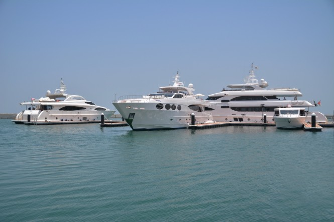 The yachts and boats on display at the Gulf Craft Exclusive Preview 2014 at Almouj Marina The Wave Muscat Sultanate of Oman