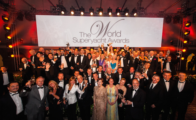 Winners of the World Superyacht Awards 2014 celebrate with their Neptune trophies