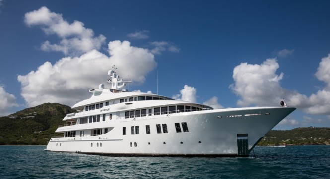 66m Delta mega yacht INVICTUS in the fabulous Caribbean yacht charter destination - Antigua - Photo by Jeff Brown