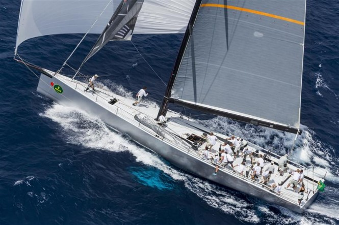 Luxury yacht ALEGRE (GBR) enjoys some downwind sailing during Day 1 of the Inshore Series off Saint-Tropez - Photo by Rolex Carlo Borlenghi