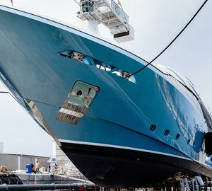 Launch of Admiral Regale 45 superyacht FLYING DRAGON at The Italian Sea Group Shipyard