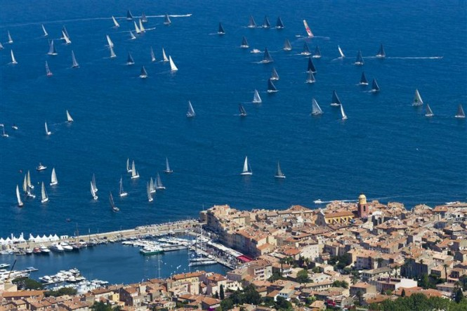 Aerial view of Saint-Tropez's Vieux Port and the Giraglia Rolex Cup fleet during the 2013 edition